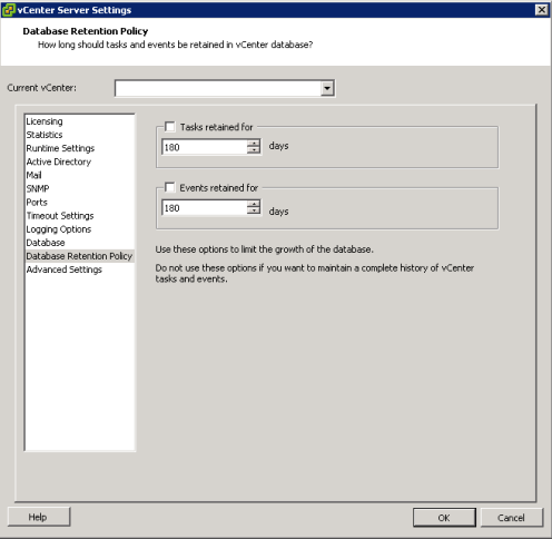 vcenter db too large default vcenter retention policy